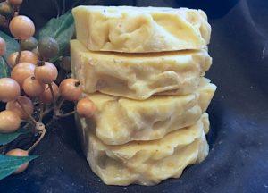 A layered honey, orange peel and oatmeal soap