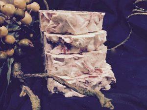 a juniper, lemon, grapefruit goats milk soap