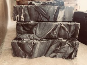 Charcoal & argan detoxification natural, organic hand made soap for eczema, psoriasis, dry, dehydrated, acne, rosacea skin created by lions market by ann