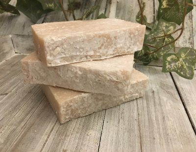 Rosebud, tea tree, ylang ylang, shea butter & sea salts for a complex blend of oils and notes to create an ultra-exfoliating, ultra-moisturizing spa salt bar for a glowing complexion by Lion's Market by Ann