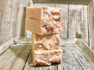 Rosebud and Jasmine Goats Milk Salt Bar. An exfoliator makes skin feel soft and new.
