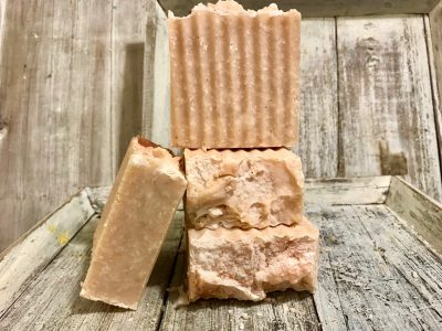 Rosebud and Jasmine Goats Milk Salt Bar. An exfoliator makes skin feel soft and new.